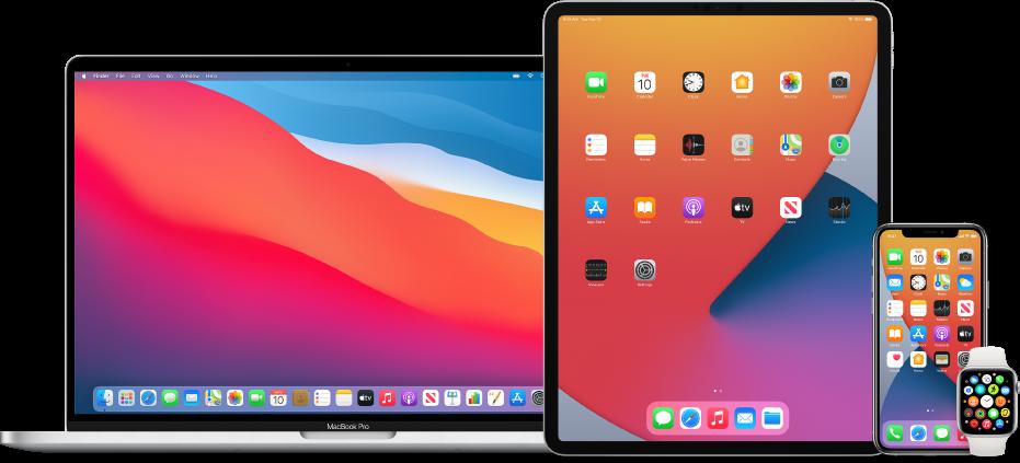 Mac, iPad, iPhone और Apple Watch।