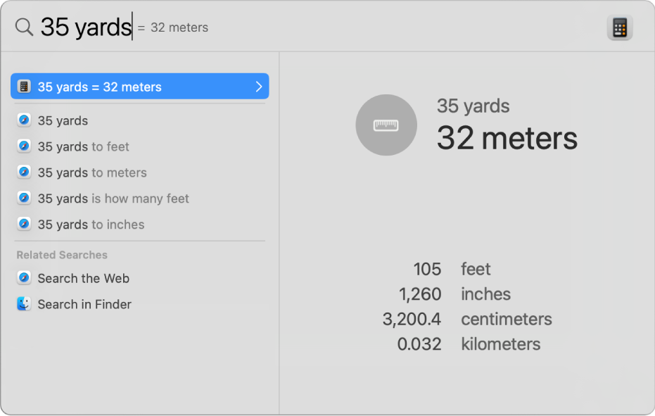 Spotlight विंडो जो खोज फ़ील्ड में यार्ड का मीटर में रूपांतरण दिखा रही है। बायीं ओर खोज परिणाम की सूची होती है। अतिरिक्त रूपांतरण दाईं ओर प्रीव्यू में दिखाए गए हैं।