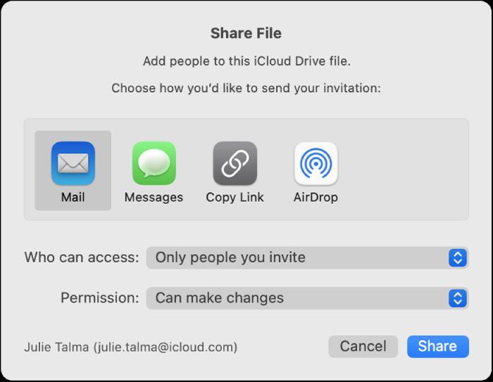 """""""फ़ाइल शेयर करें"""" विंडो, जिसमें ऐसे ऐप दिखाई देते हैं जिनका उपयोग करके आप आमंत्रण बना सकते हैं और साथ ही इसमें दस्तावेज़ शेयर करने के विकल्प दिखाई देते हैं।"""