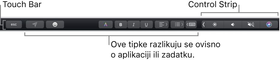 Touch Bar, duž vrha tipkovnice, prikazuje tipke koje variraju po aplikaciji ili zadatku na lijevoj strani, a na desnoj, smanjenu traku Control Strip.