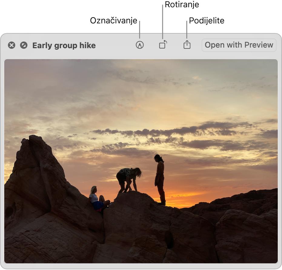 Slika u prozoru Brzi pregled s tipkama za obilježavanje, rotaciju ili dijeljenje slike ili otvaranje u aplikaciji Pregled.