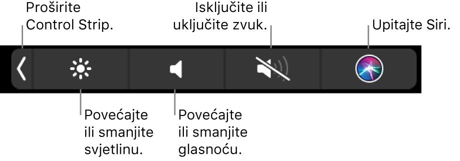 Smanjena traka Control Strip obuhvaća tipke, s lijeva na desno, za proširivanje trake Control Strip, povećanje ili smanjenje svjetline zaslona i glasnoće, isključivanje ili uključivanje zvuka i pitanja za Siri.