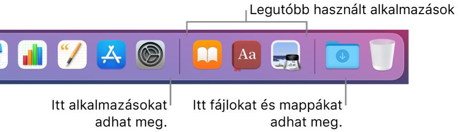 A Dock jobb széle a legutóbb használt alkalmazások szakasza előtt és után lévő elválasztóvonalakkal.