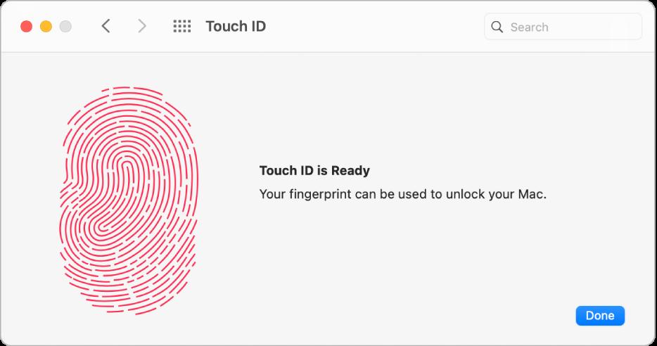 A Touch ID beállítások panelje mutatja, hogy az ujjlenyomat elkészült, és használható a Mac gép feloldásához.