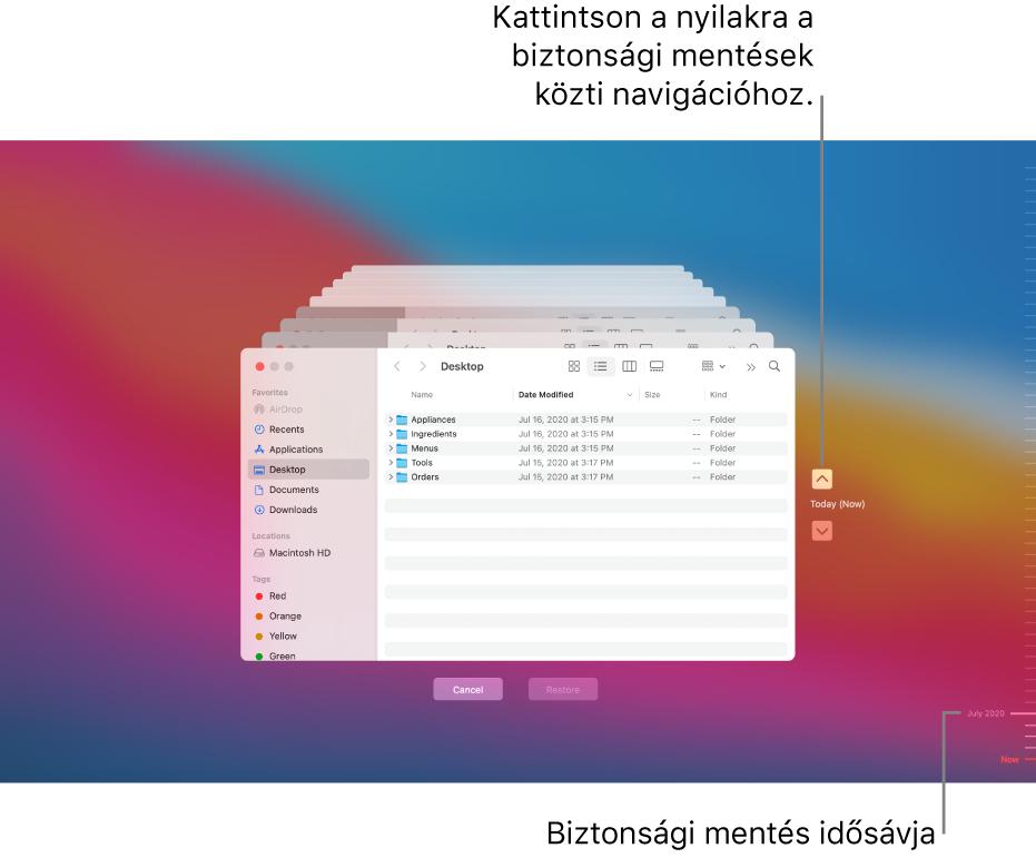 A Time Machine megnyitása után egy homályos képernyőt lát, több egymásra helyezett Finder ablakkal, amelyek a biztonsági mentéseket jelképezik. Kattintson a nyilakra a biztonsági másolatok közötti navigáláshoz (vagy kattintson a biztonsági másolatok idővonalára a jobb oldalon), és válassza ki a visszaállítani kívánt fájlokat.