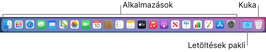 A Dock, melyen alkalmazásikonok, a Letöltések pakli és a Kuka láthatók.