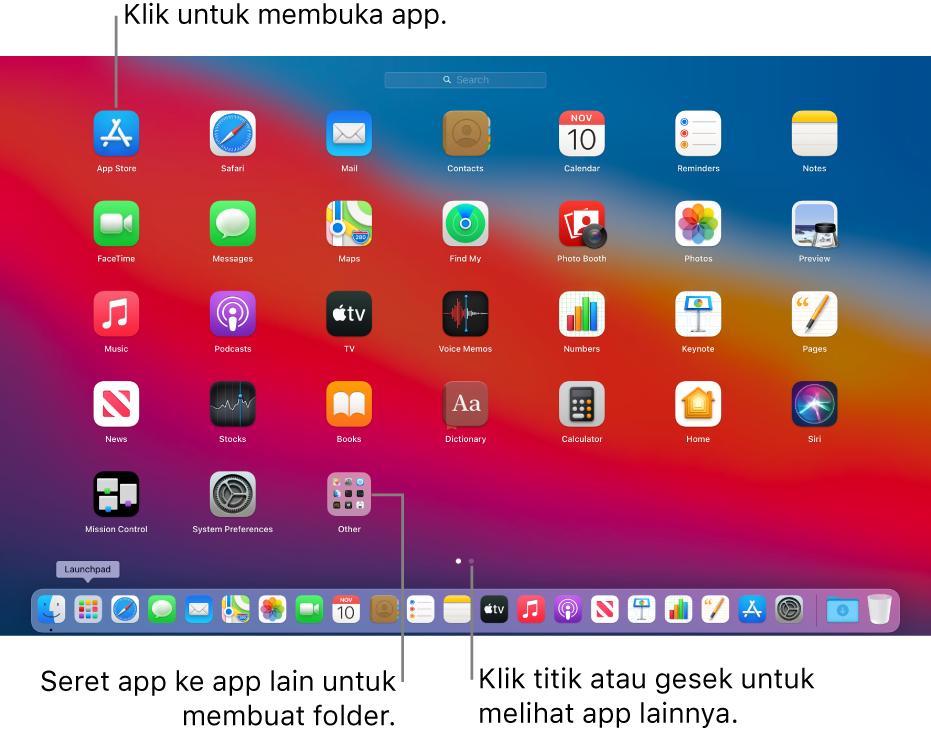 Launchpad menampilkan app yang dapat Anda buka.