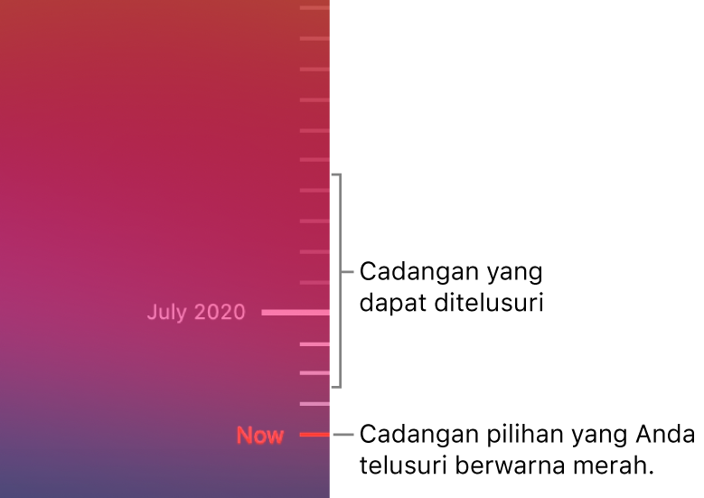 Tanda centang di garis waktu cadangan. Tanda centang merah menunjukkan cadangan yang Anda telusuri.