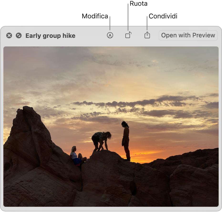 Immagine nella finestra di Visualizzazione rapida con pulsanti per modificare, ruotare o condividere l'immagine, o per aprirla nell'app Anteprima.