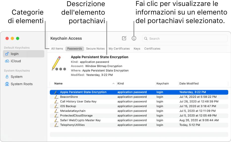 La finestra di Accesso Portachiavi che mostra i portachiavi nella barra laterale. Sulla destra viene mostrata una descrizione di una password del portachiavi di login selezionato.