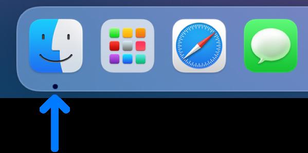 Dock의 왼쪽 측면. Finder 아이콘이 왼쪽 끝에 있음.