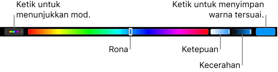 Touch Bar menunjukkan rona, ketepuan dan kecerahan gelangsar untuk mod HSB. Di hujung kiri adalah butang untuk menunjukkan semula mod; di sebelah kanan, butang untuk menyimpan warna tersuai.