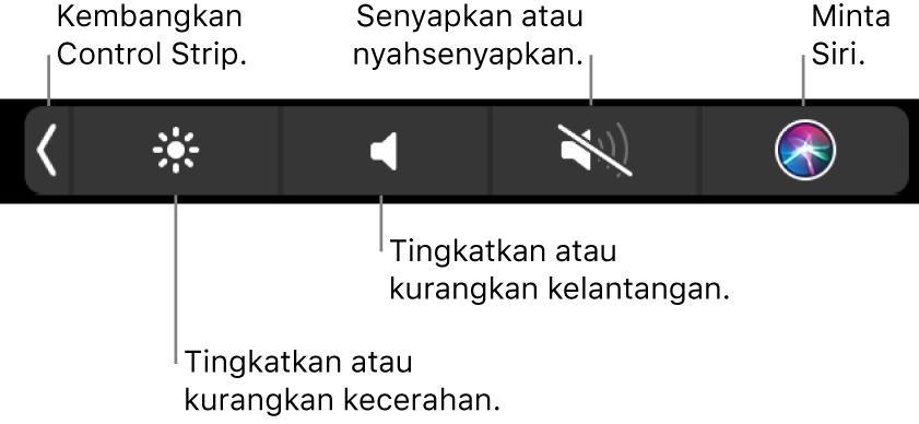 Control Strip yang diruntuhkan termasuk butang—dari kiri ke kanan—untuk mengembangkan Control Strip, meningkatkan atau mengurangkan kecerahan dan kelantangan, senyapkan atau nyahsenyapkan dan tanya Siri.