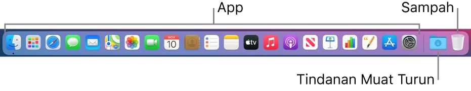 Dock menunjukkan ikon untuk app, tindanan Muat Turun dan Sampah.