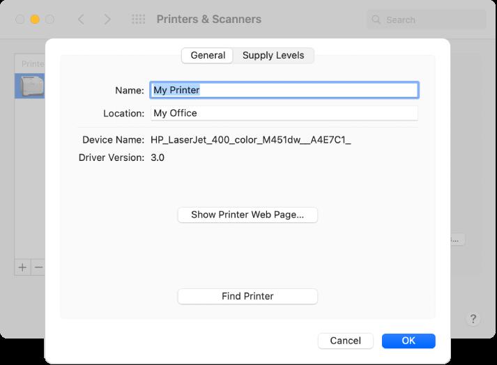 Het dialoogvenster 'Opties en toebehoren' waarin het tabblad 'Algemeen' geselecteerd is, met velden voor het opgeven van de naam en locatie van de printer.