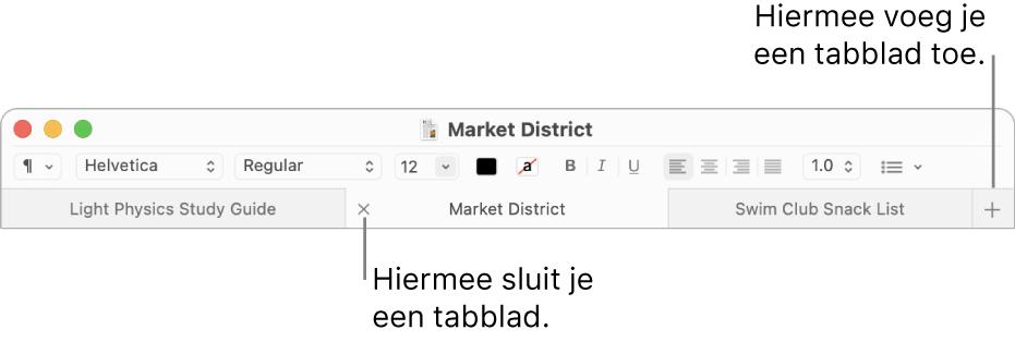 Een Teksteditor-venster met drie tabbladen in de tabbladbalk onder de opmaakbalk. Op één tabblad wordt de sluitknop weergegeven. De knop met het plusteken bevindt zich aan de rechterkant van de tabbladbalk.
