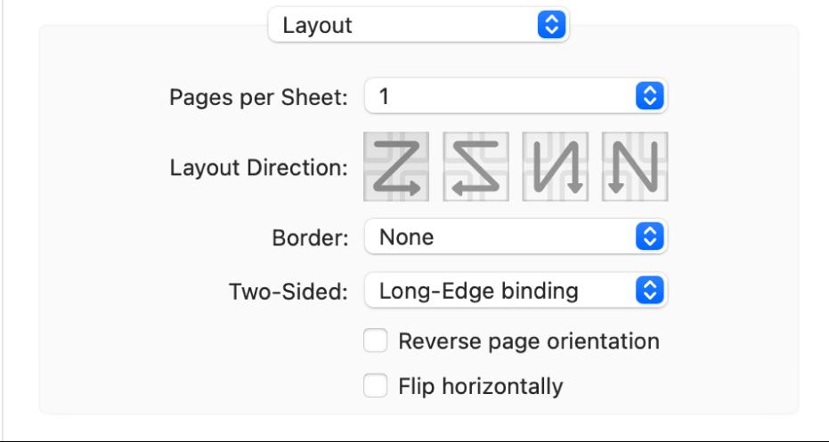 De optie 'Lay-out' in het venstermenu met afdrukopties en het aankruisvak 'Keer paginarichting om'.