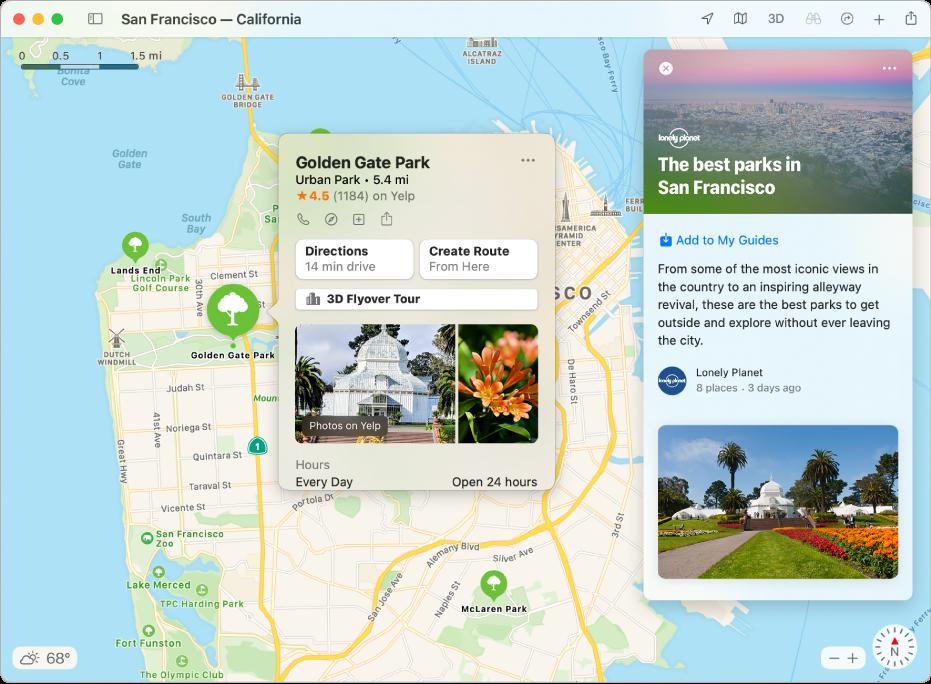 Een kaart van de San Francisco Bay Area met gidsen voor populaire attracties.