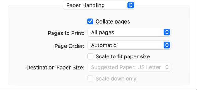 De optie 'Papierafhandeling' in het venstermenu met afdrukopties. In het venstermenu 'Paginavolgorde' kan de paginavolgorde worden gewijzigd.
