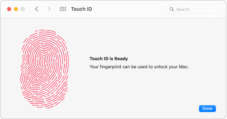 Het voorkeurenpaneel 'TouchID' met een voltooide vingerafdruk die kan worden gebruikt om de Mac te ontgrendelen.