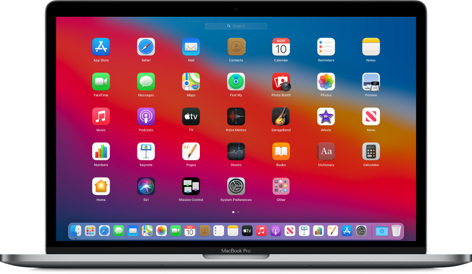 Launchpad met appsymbolen in de vorm van een raster op het scherm van een Mac.