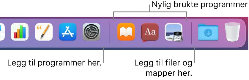 En del av Dock som viser skillelinjene mellom programmer, nylig brukte programmer og filer og mapper.
