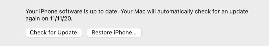 Knappen «Gjenopprett [enhet]» vises ved siden av knappen «Søk etter oppdateringer».
