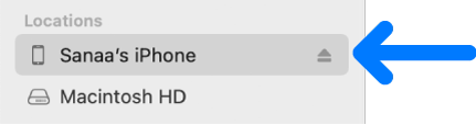 En enhet er markert i Finder-sidepanelet.