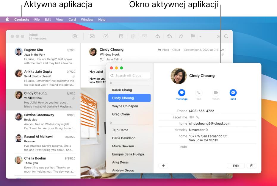 Przykład Biurka zwieloma otwartymi oknami ijedną aktywną aplikacją.