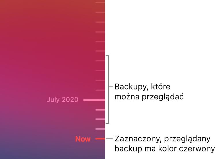 Znaczniki na linii czasowej backupów. Czerwony znacznik wskazuje aktualnie przeglądany backup.