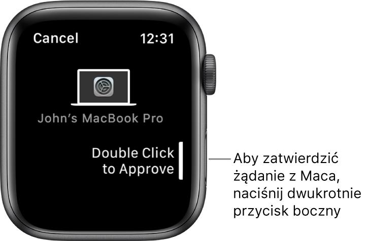 Apple Watch wyświetla żądanie zatwierdzenia zMacBooka Pro.