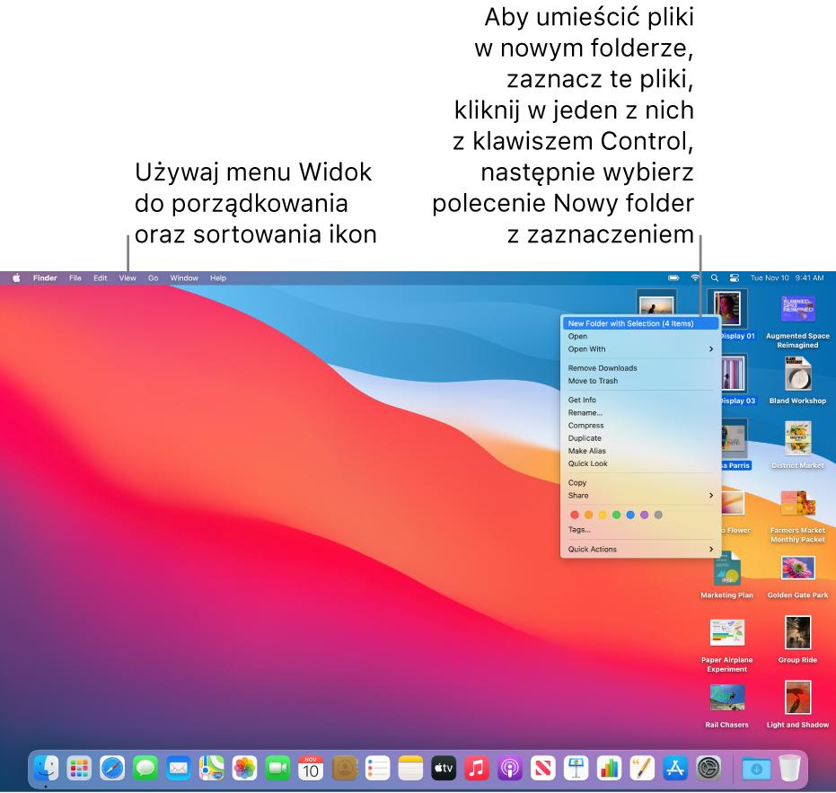 Biurko zplikami ifolderami. Niektóre pliki są zaznaczone wcelu umieszczenia ich wnowym folderze. Kliknięcie zklawiszem Control wzaznaczony plik wyświetla menu podręczne, wktórym wybrane jest polecenie Nowy folder zzaznaczeniem.