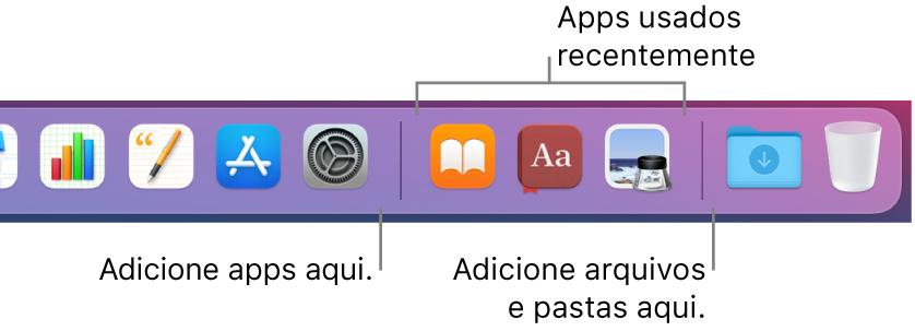 A extremidade direita do Dock mostrando as linhas de separação antes e depois da seção de apps usados recentemente.
