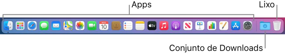 Dock mostrando ícones de aplicativos, o conjunto Transferências e o Lixo.