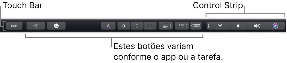 A Touch Bar, na parte superior do teclado, mostrando botões que variam conforme o app ou tarefa à esquerda e, à direita, a Control Strip contraída.