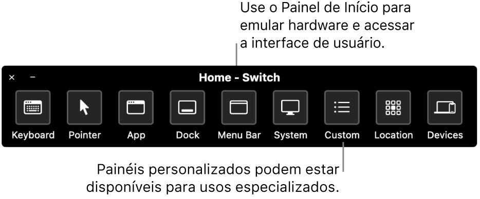 O Painel de Início do Controle Assistivo fornece botões para controlar, da esquerda para a direita, teclado, cursor, app, Dock, barra de menus, controles do sistema, painéis personalizados, localização na tela e outros dispositivos.