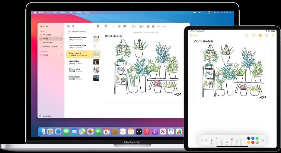 Um iPad mostrando um desenho, ao lado de um Mac no qual o desenho é mostrado em uma nota.