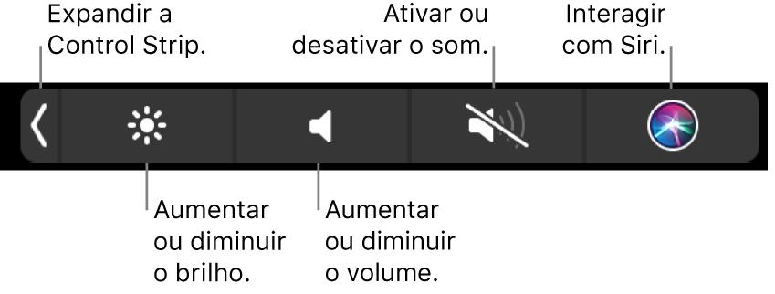 A Control Strip comprimida inclui botões, da esquerda para a direita, para expandir a Control Strip, aumentar ou diminuir o brilho do monitor e o volume, desligar ou ligar o som e efetuar pedidos a Siri.