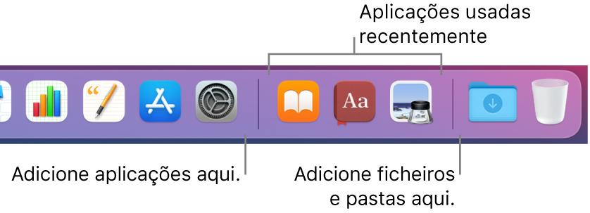 A extremidade direita da Dock a mostrar as linhas de separação antes e depois da secção das aplicações usadas recentemente.
