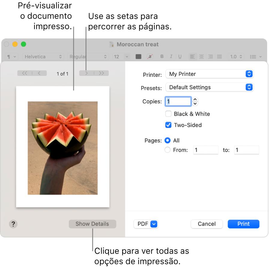 """A caixa de diálogo Imprimir apresenta uma pré-visualização dos seus trabalhos de impressão. Para ver as opções de impressão, clique em """"Mostrar detalhes""""."""