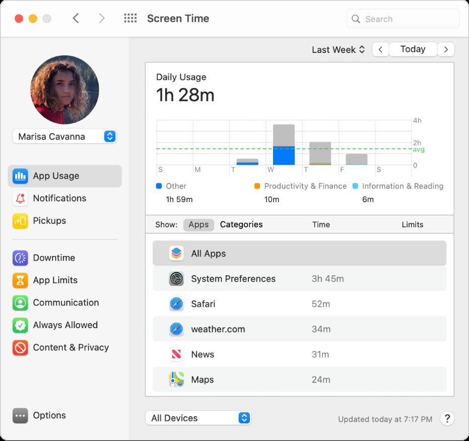"""O painel de preferências """"Utilização de aplicações"""" do tempo de ecrã a mostrar a utilização de aplicações para uma criança num grupo de Partilha com a família."""