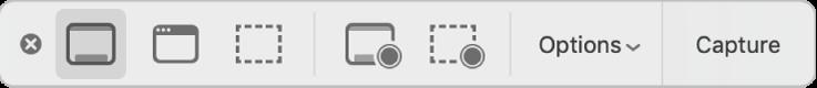 O painel de ferramentas da aplicação Captura de Ecrã.