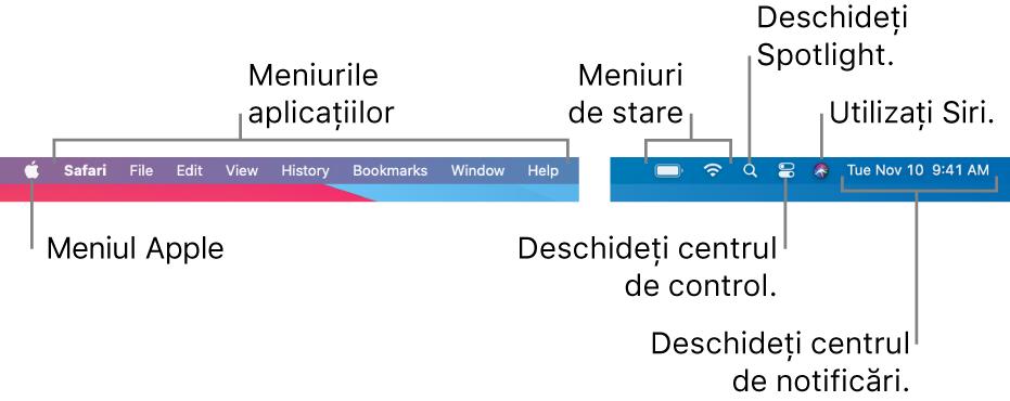 Bara de meniu. În partea din stânga se află meniul Apple și meniurile aplicației. În partea din dreapta se află meniurile de stare, Spotlight, Centru de control, Siri și Centru de notificări.