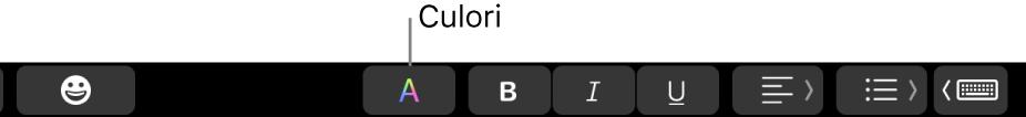 Touch Bar afișând butonul Culori printre butoanele specifice aplicațiilor.