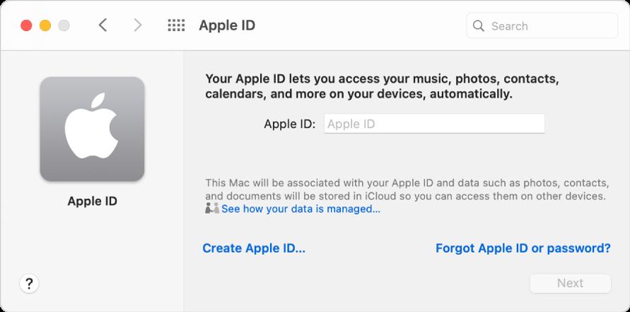 Casetă de dialog ID Apple pregătită pentru introducerea unui ID Apple. Un link Creează un ID Apple vă permite să creați un nou ID Apple.
