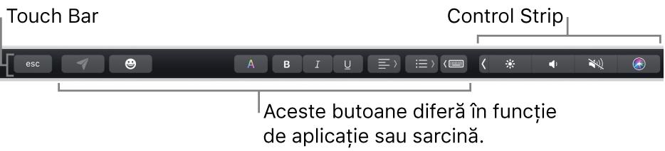 Touch Bar din partea de sus a tastaturii, afișând butoane care variază în funcție de aplicație sau de sarcină, în partea stângă, și Control Strip restrâns, în dreapta.