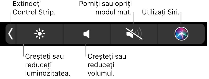 Control Strip restrâns include butoane – de la stânga la dreapta – pentru extinderea Control Strip, creșterea sau reducerea luminozității ecranului și a volumului, activarea sau dezactivarea modului mut și punerea de întrebări pentru Siri.