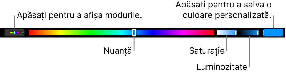 Touch Bar afișând glisoarele de nuanță, saturație și luminozitate pentru modul HSB. La capătul din stânga se află butonul pentru afișarea tuturor modurilor; în dreapta, butonul pentru salvarea unei culori personalizate.