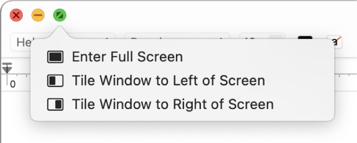 Menu, ktoré sa zobrazí pri umiestnení kurzora na zelené tlačidlo vľavom hornom rohu okna. Menu obsahuje tieto príkazy (zhora nadol): Zobraziť na celej obrazovke, Umiestniť ako dlaždicu naľavo aUmiestniť ako dlaždicu napravo.