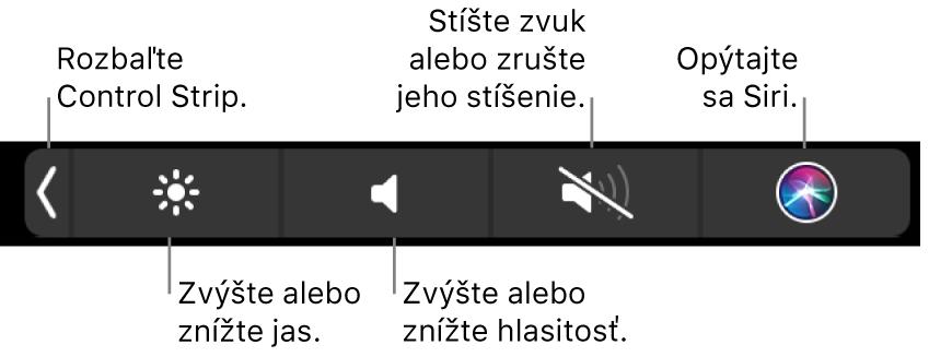 Zbalený Control Strip obsahuje tlačidlá (zľava doprava), ktoré umožňujú rozbaliť Control Strip, zvýšiť alebo znížiť jas displeja ahlasitosť, stíšiť alebo zrušiť stíšenie zvuku aaktivovať Siri.